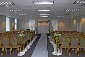 room decorated for wedding